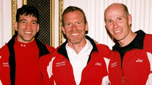 Whirlaway's winning masters team at the Boston Marathon - Mike Cooney, Chris Spinney, Paul Hammond (Fitzfoto/NERunner)