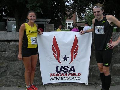 USATF NE Road Mile champions Larissa Park and Pat Fullerton (Jean Cann photo)