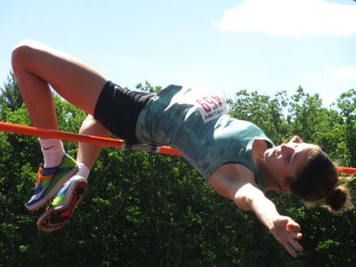 Girl's High Jump at 2014 JO's at Fitchburg. (photo by Steve Vaitones)