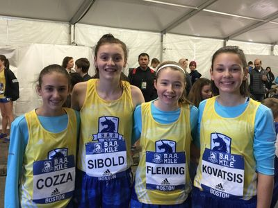 Four members of the Wellesley Youth Track & Field Club were part of the B.A.A. Middle School 1K, including winner Allison Sibold of Wellesley. (Photo: Wellesley Youth TF Club)